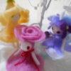 羊毛フェルトの作り方 指人形 花の妖精 アオイ バラ スミレ サクラ…